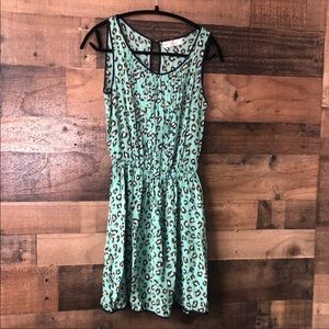 Love Tree Teal & Grey Cheetah Print Mini Dress